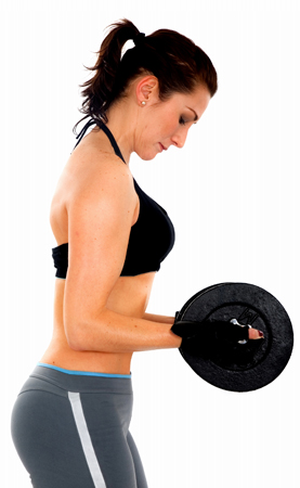 vrouw met gewichten